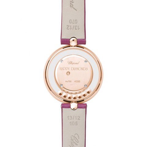 Chopard Happy Diamond Icon Rose Gold Burgundy Leather Strap 32mm