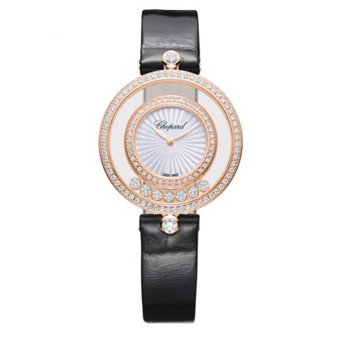 Chopard Happy Diamond Icon Full Diamond Rose Gold Black Leather 32mm