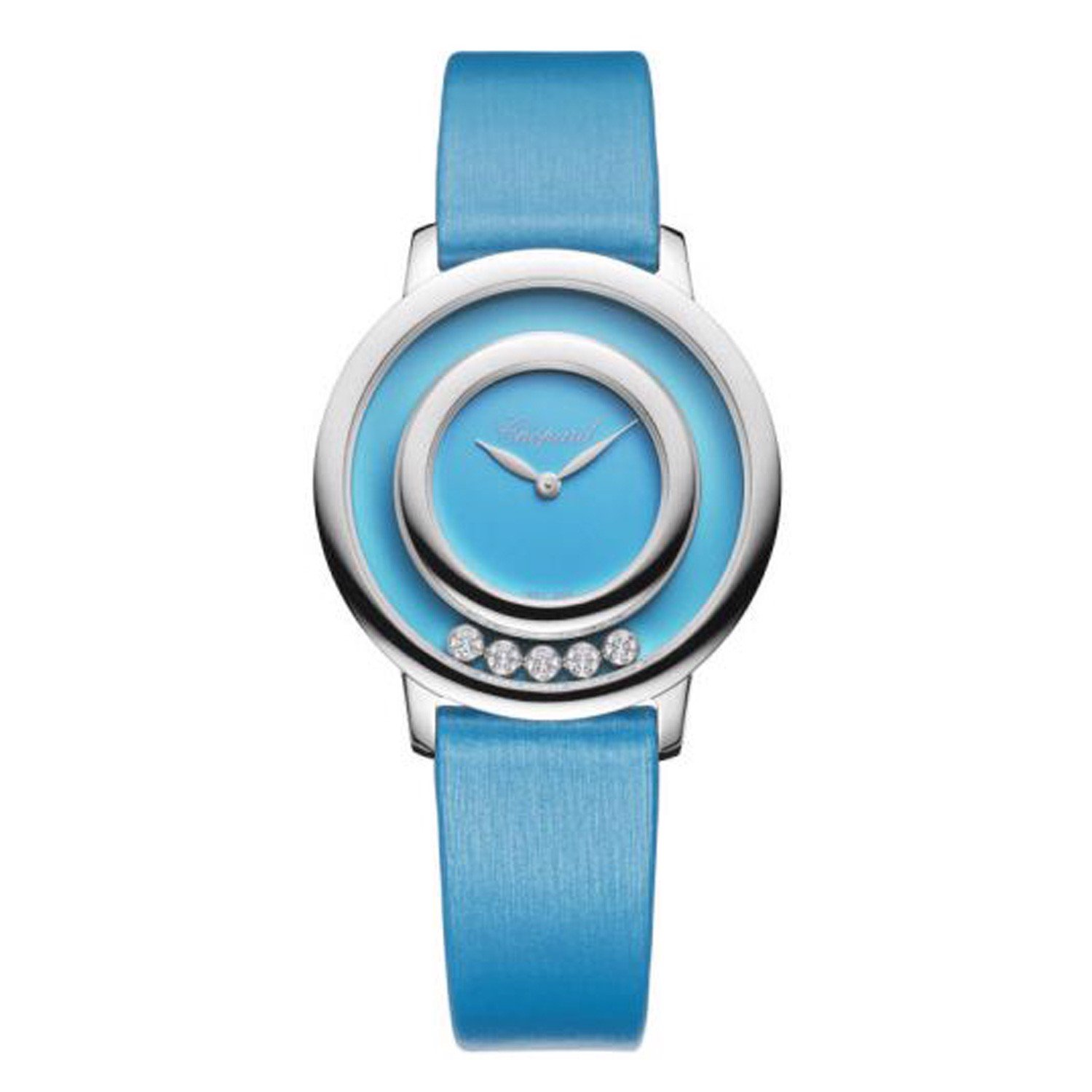 Chopard Happy Diamond Icon White Gold Light Blue Fabric Strap 32mm