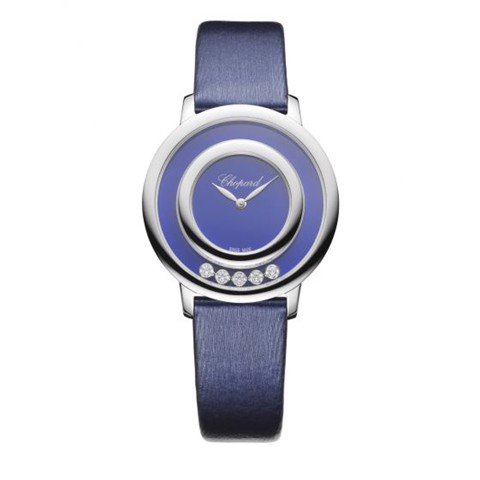 Chopard Happy Diamond Icon White Gold Blue Fabric Strap 32mm