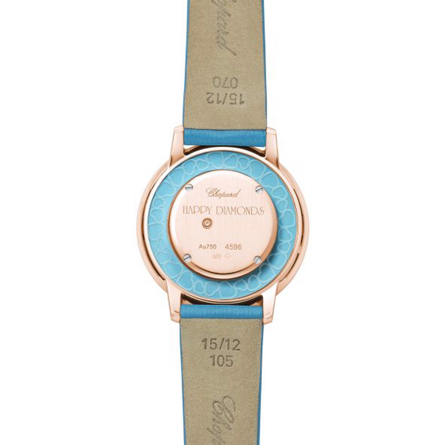 Chopard Happy Diamond Icon Rose Gold Light Blue Fabric Strap 32mm