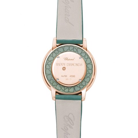 Chopard Happy Diamond Icon Rose Gold Green Fabric Strap 32mm