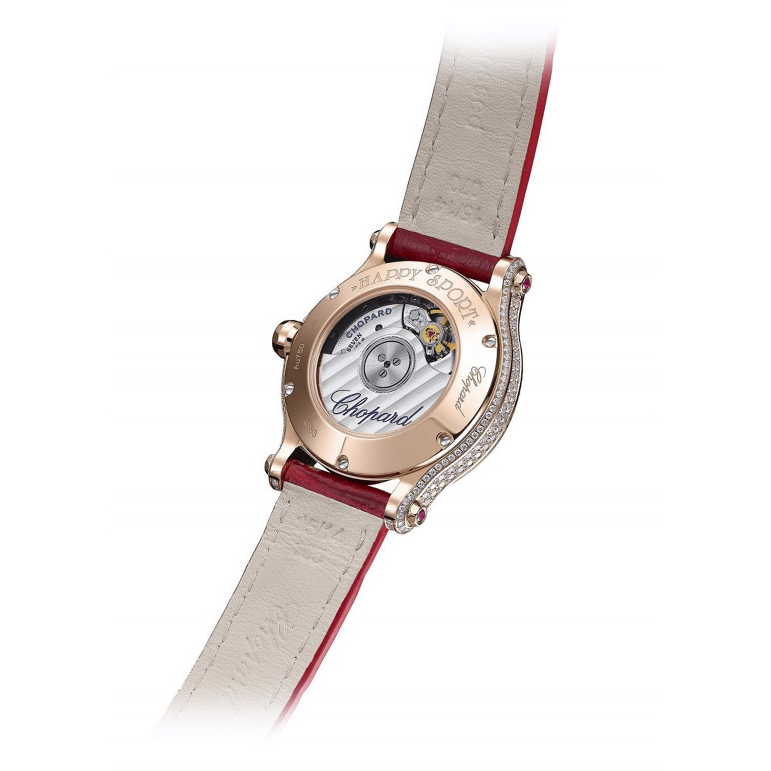 Chopard Happy Sport Automatic Diamond Rose Gold Red Leather