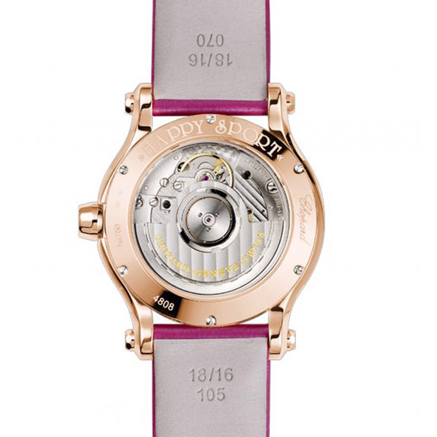 Chopard Happy Sport Automatic Diamond Rose gold Leather Strap 36mm