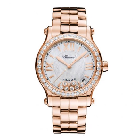 Chopard Happy Sport Automatic Diamond Rose Gold Bracelet MOP Dial 36mm