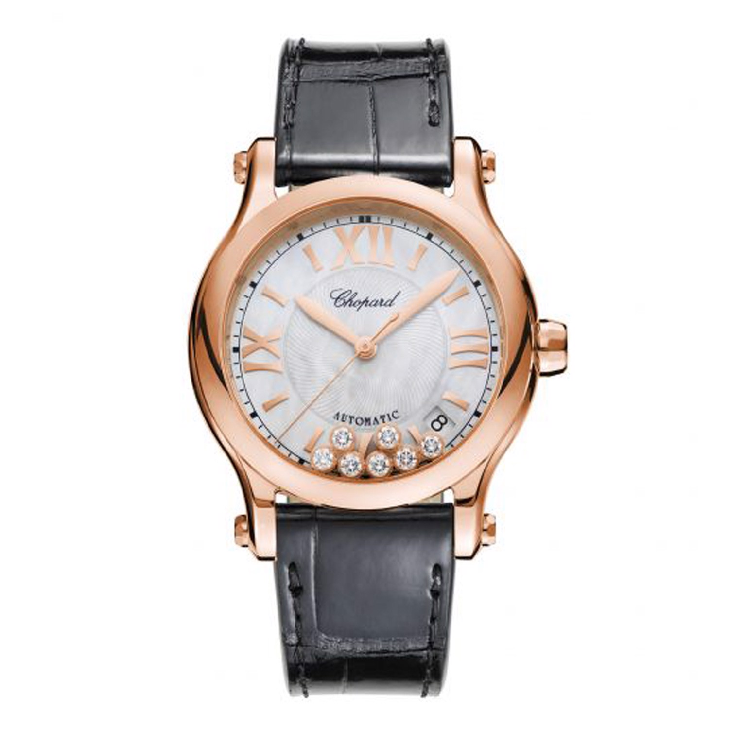 Chopard Happy Sport Automatic Rose Gold Black Leather Strap MOP 36mm