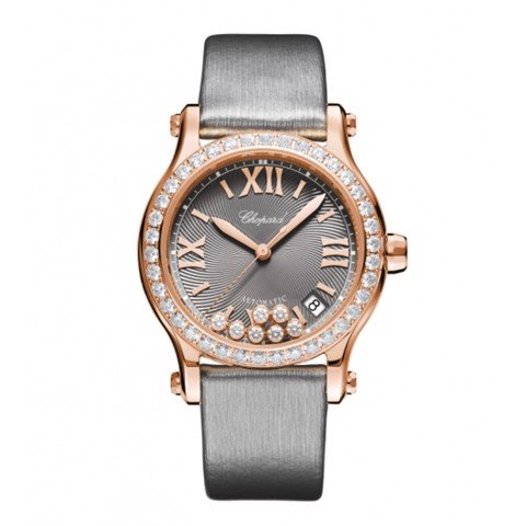 Chopard Happy Sport Automatic Diamond Rose Gold Gray Fabric Strap 36mm
