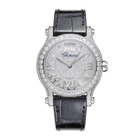 Chopard Happy Sport Automatic Full Diamond White Gold Black Leather strap 36mm