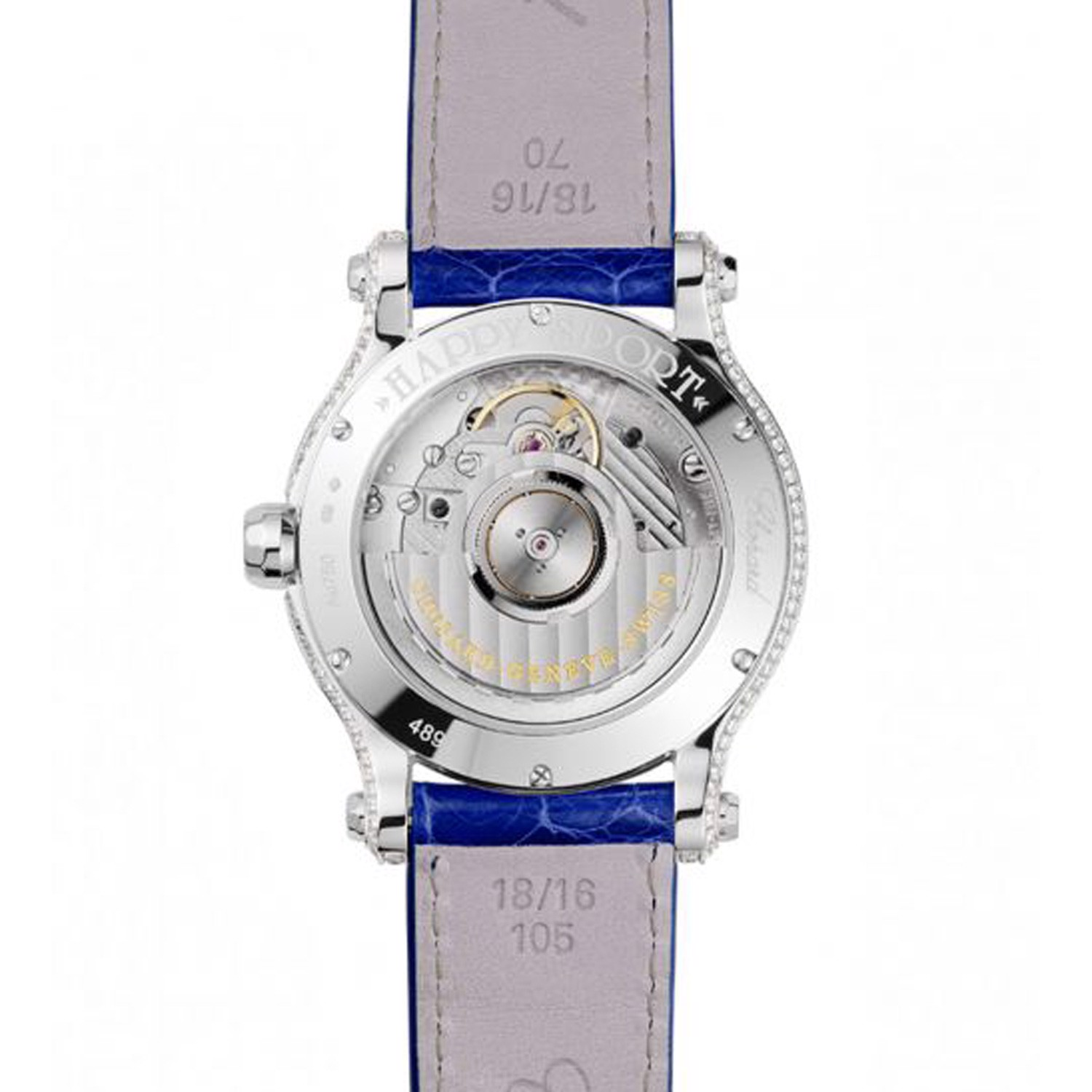 Chopard Happy Sport Automatic Sapphires White gold Blue Leather Strap 36mm