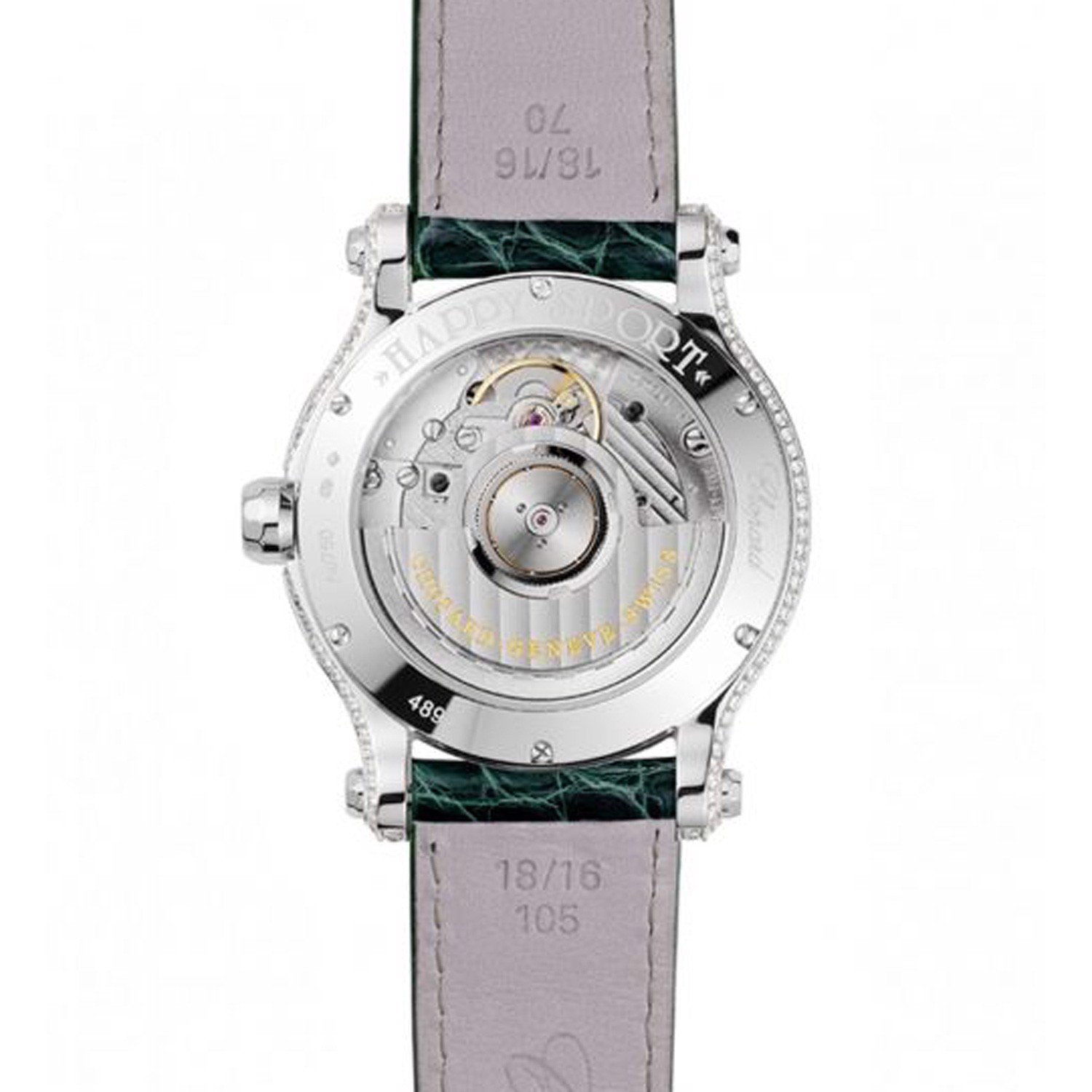 Chopard Happy Sport Automatic Sapphires White Gold Green Leather Strap 36mm
