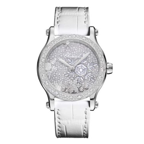 Chopard Happy Snowflakes Automatic White Gold Leather Strap MOP 36mm