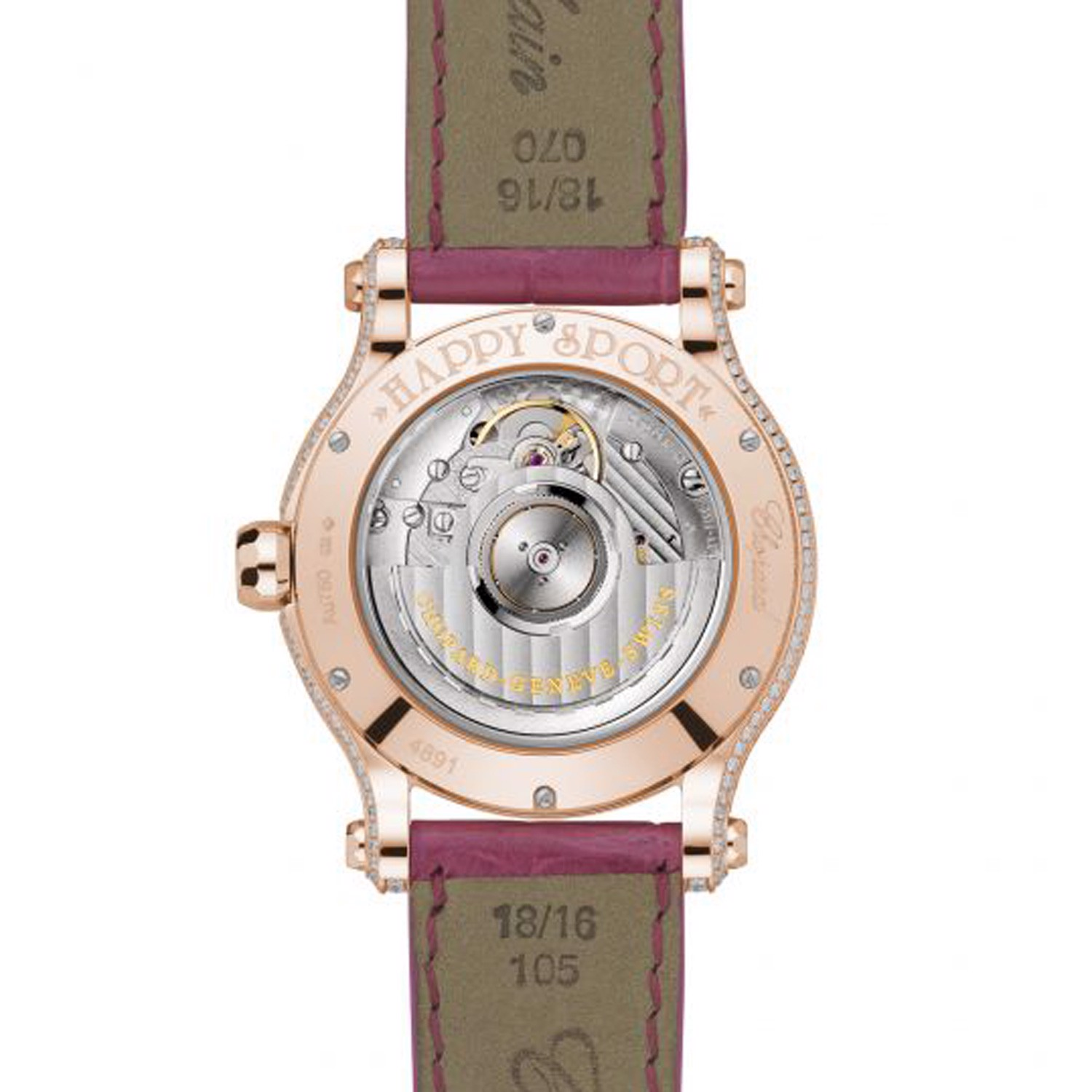 Chopard Happy Sport Automatic Rainbow Sapphires Rose Gold Pink Leather strap 36mm