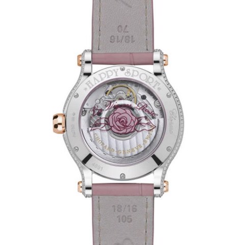 Chopard Happy Sport Automatic Full Diamond Two-toned Pink Leather strap 36mm