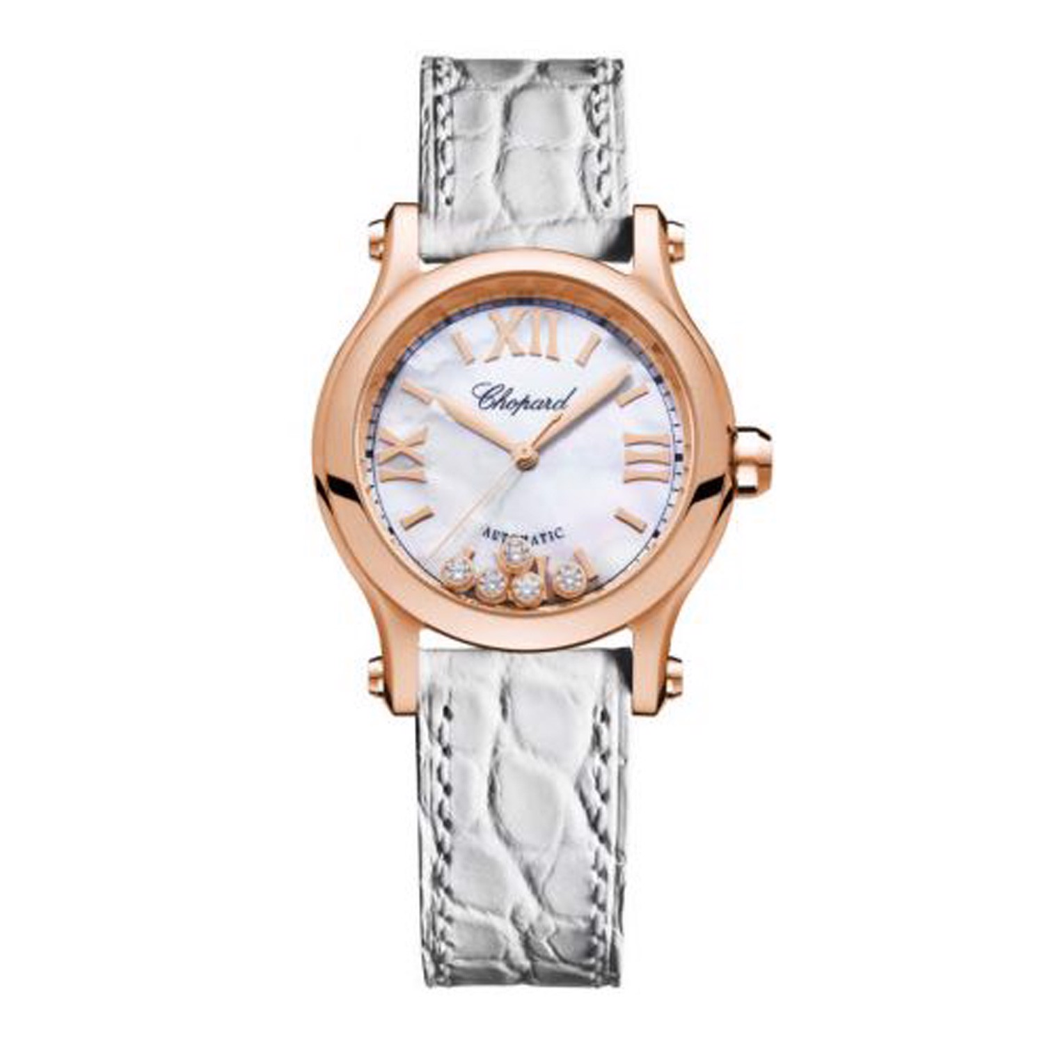 Chopard Happy Sport Automatic Rose Gold White Leather Strap MOP Dial  30mm