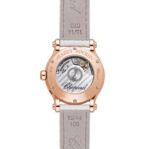 Chopard Happy Sport Automatic Diamond Rose Gold White Leather Strap MOP Dial  30mm