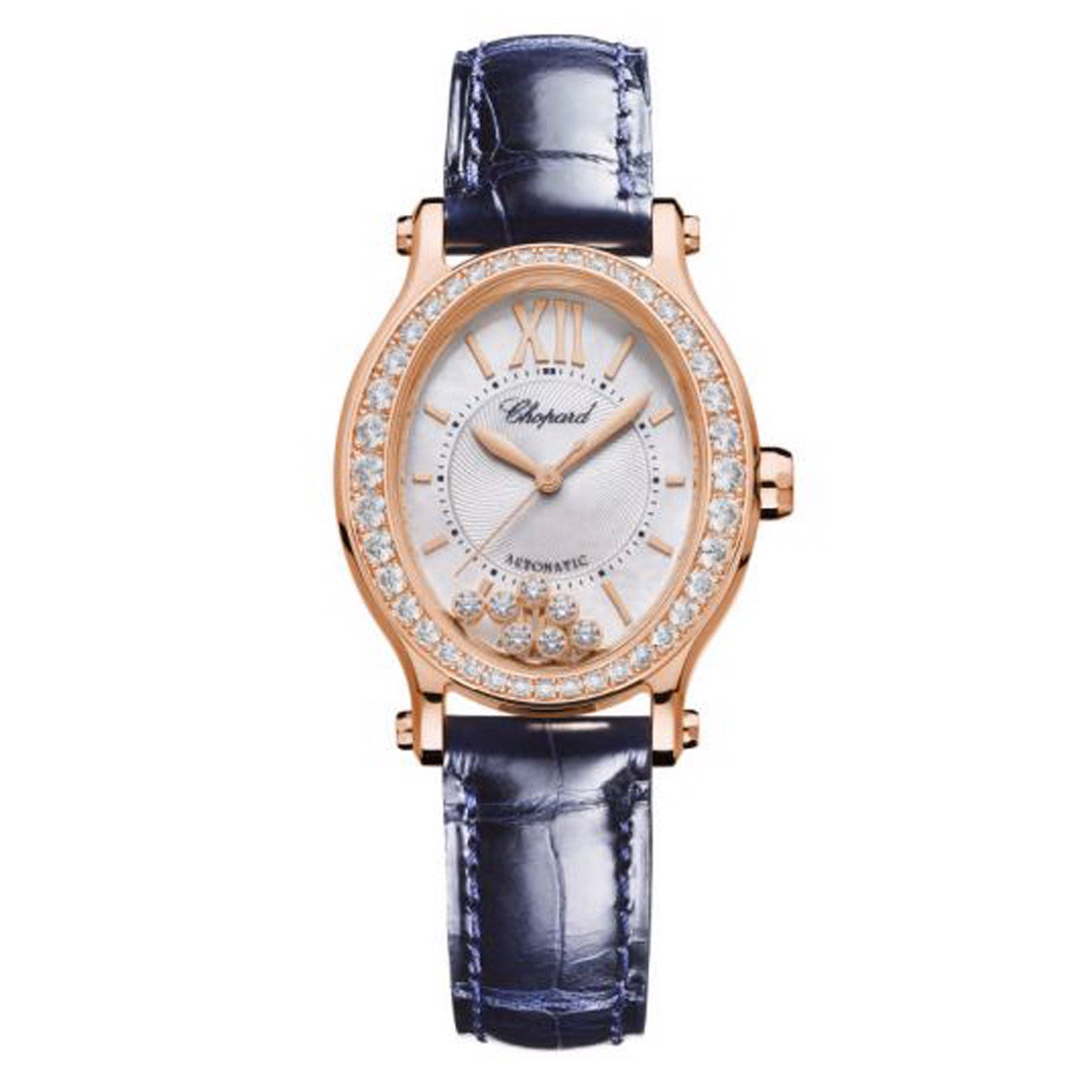 Chopard Happy Sport Oval Automatic Diamond Rose Gold Blue Leather 31mm