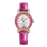 Chopard Happy Sport Oval Automatic Rose Sapphires Rose Gold Pink Leather MOP Dial 31mm