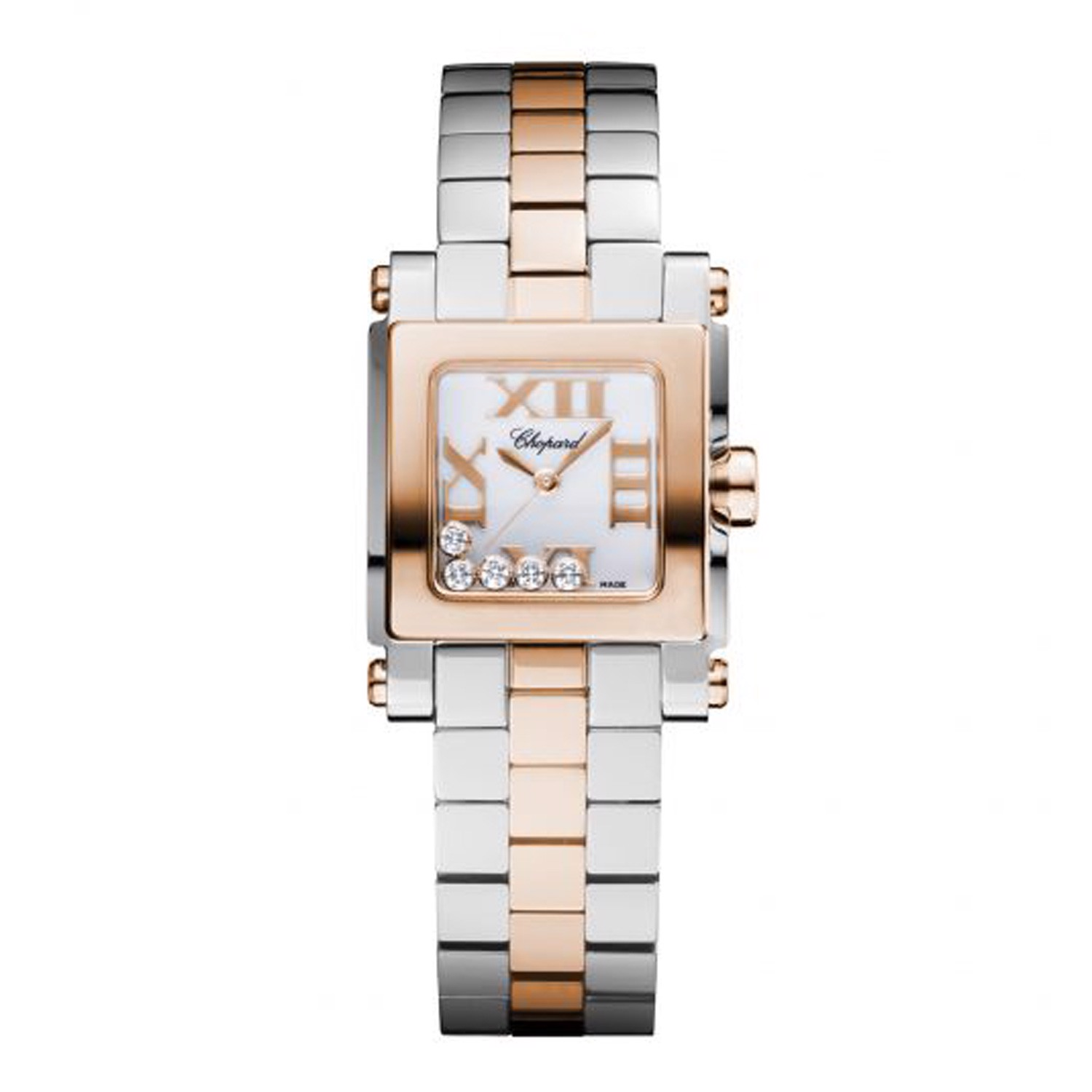 Chopard Happy Sport Quartz Square Mini Rose Gold and Steel 24mm