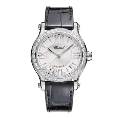 Chopard Happy Sport Automatic Diamond Steel Black Leather Strap 36mm