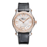 Chopard Happy Sport Automatic Diamond Rose Gold Steel Black Leather Strap 36mm