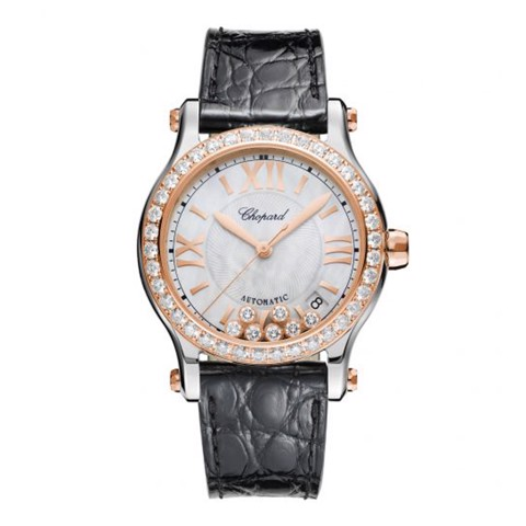 Chopard Happy Sport Automatic Diamond Gold Steel Black Leather Strap MOP Dial 36mm