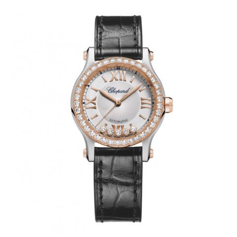 Chopard Happy Sport Automatic Diamond Rose Gold - Steel Leather Strap 30mm