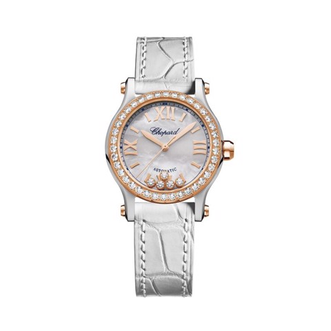 Chopard Happy Sport Automatic Diamond Rose Gold - Steel White Leather Strap 30mm