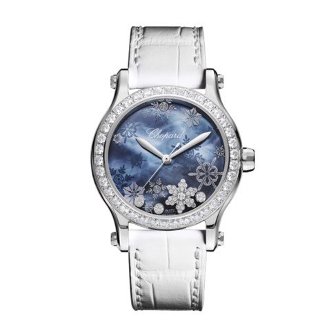 Chopard Happy Snowflakes Automatic Steel Leather Strap Blue MOP 36mm