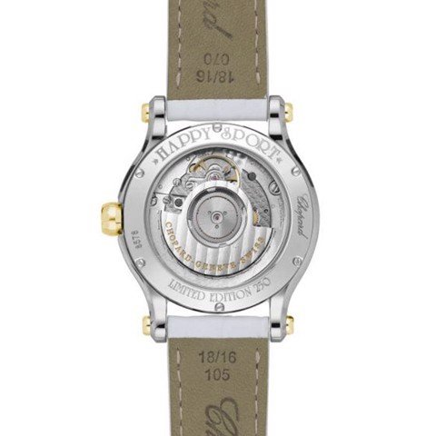 Chopard Happy Palm Automatic Diamond Yellow Gold - Steel Leather Strap 36mm