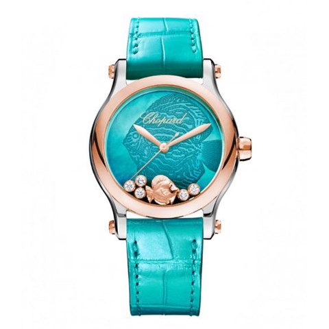 Chopard Happy Fish Automatic Diamond Rose gold Leather Strap 36mm