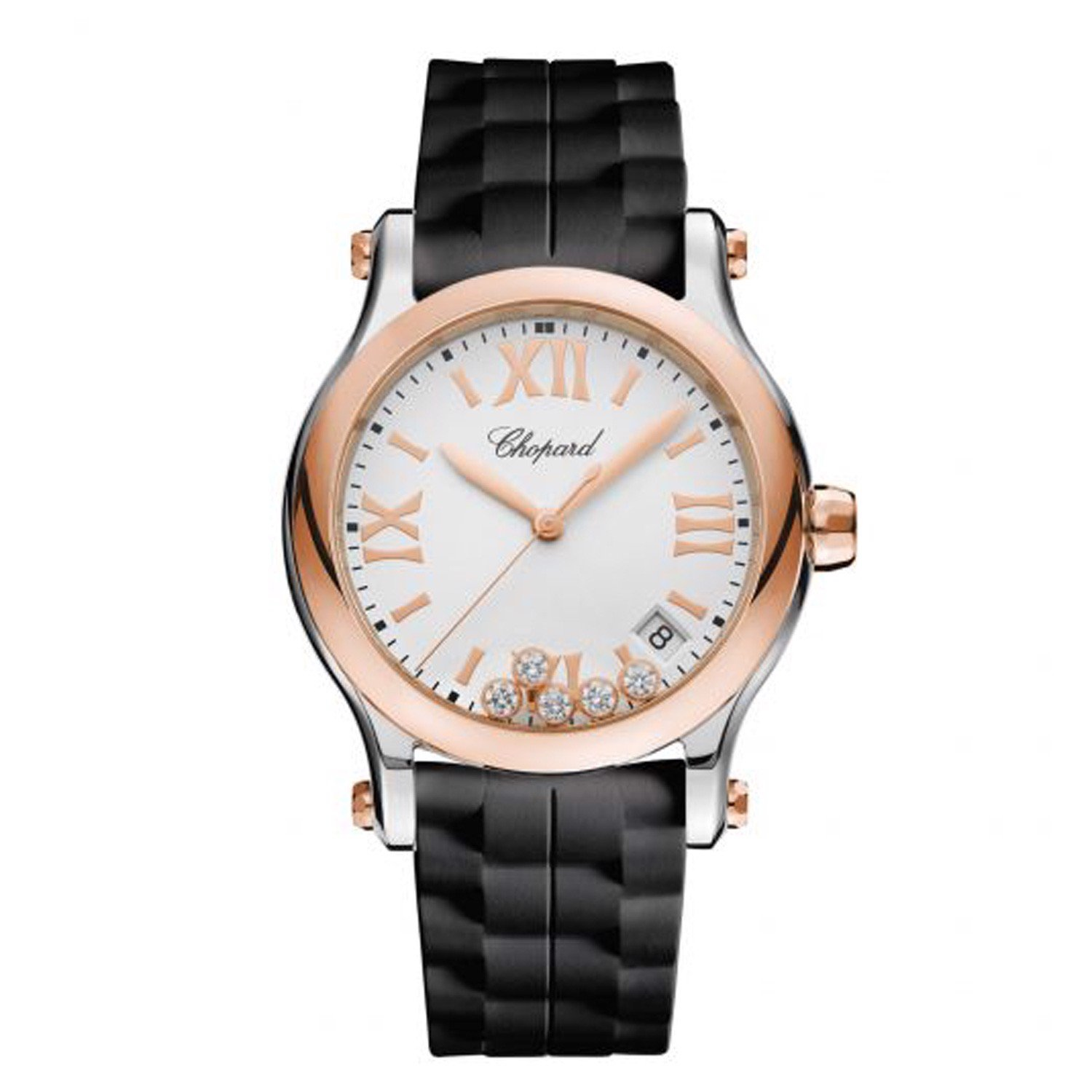 Chopard Happy Sport Quartz Rose Gold - Steel Rubber Strap 36mm