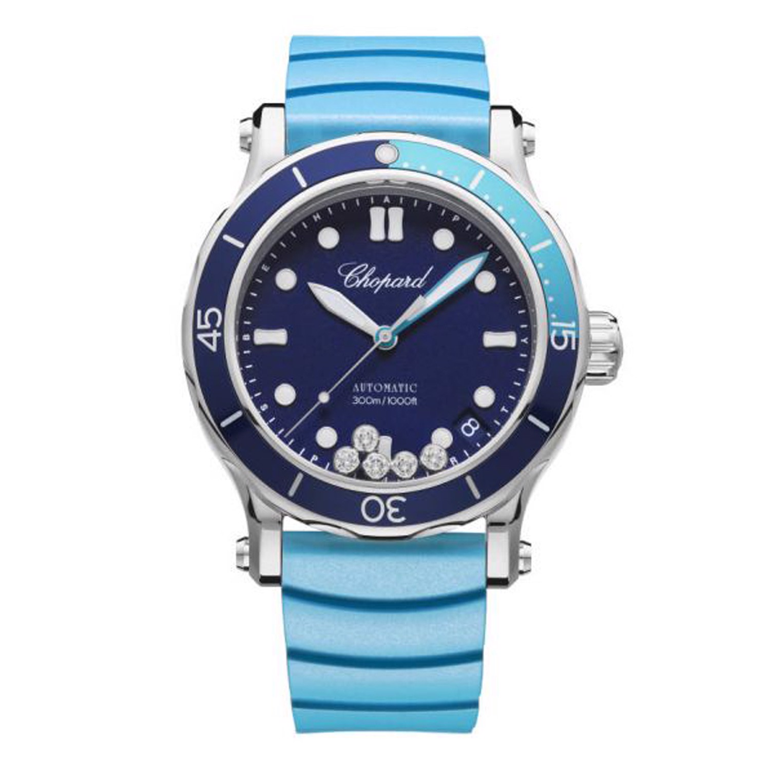 Chopard Happy Ocean Automatic Blue Rubber strap 40mm