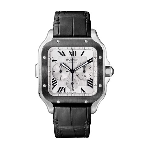 Cartier Santos De Cartier Chronograph XL ADLC-Steel Rubber and Leather