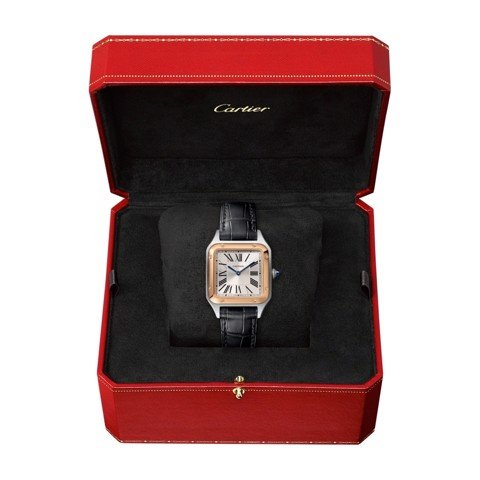 Cartier Santos Dumont Small Pink Gold Steel Leather