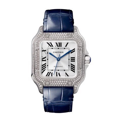 Cartier Santos De Cartier Medium White Gold Diamonds 2 Leather