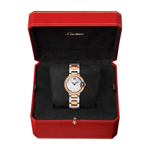 Cartier Ballon Bleu de Cartier 28mm Pink Gold and Steel Diamonds