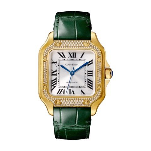 Cartier Santos De Cartier Medium Yellow Gold Diamonds 2 Leather