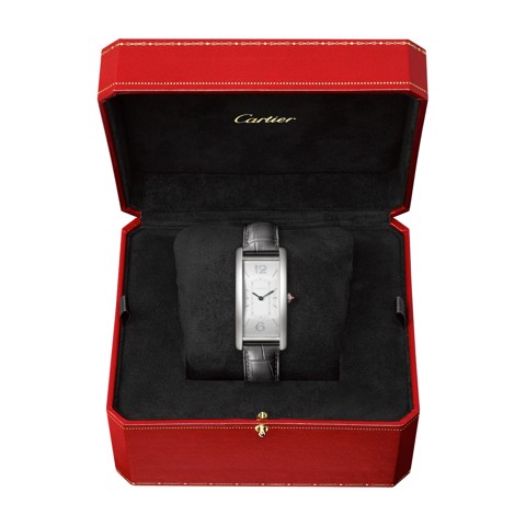 Cartier Tank Cintrée Large Model Platinum Leather