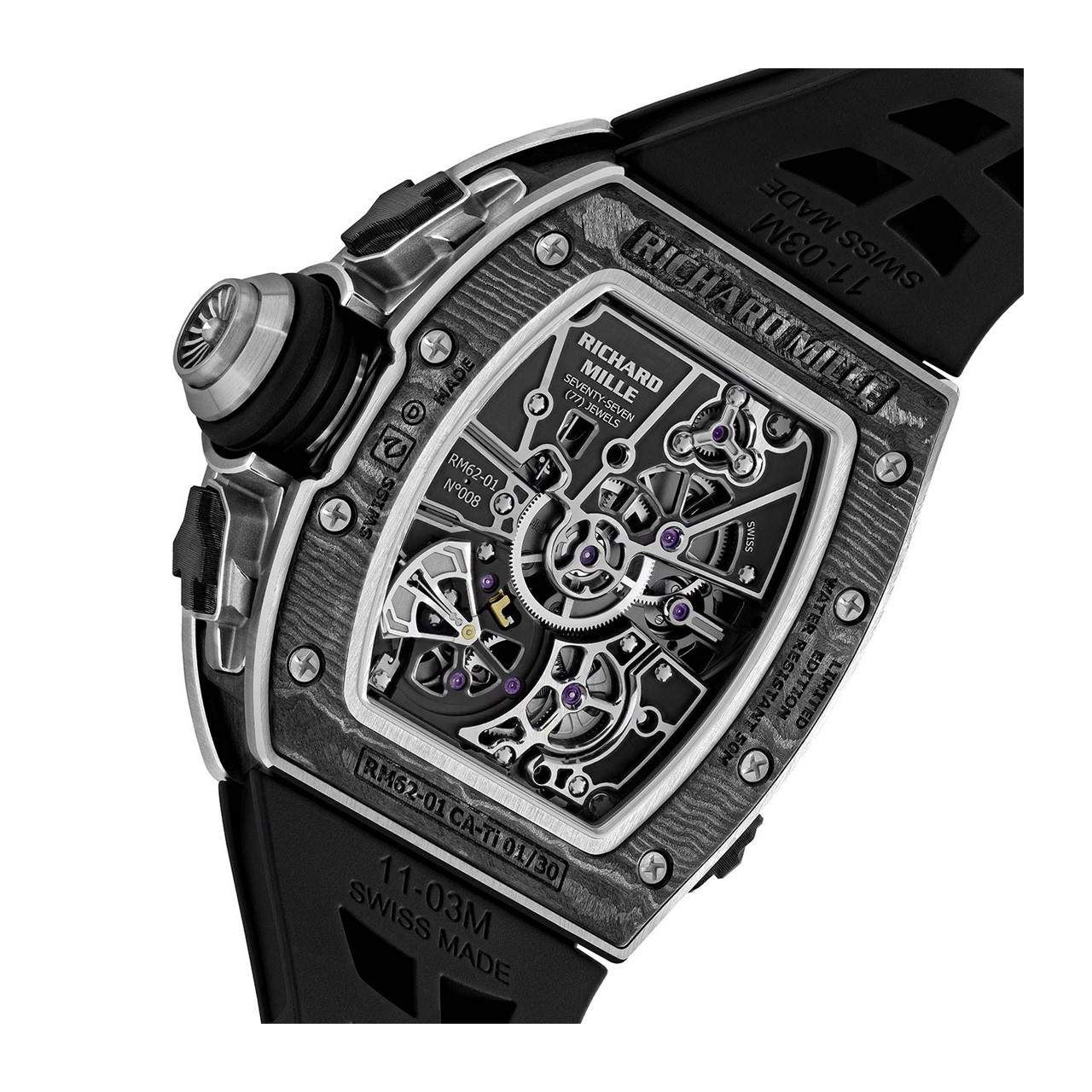 Richard Mille Men Watch RM 62-01 Manual Winding Tourbillon vibrating alarm ACJ