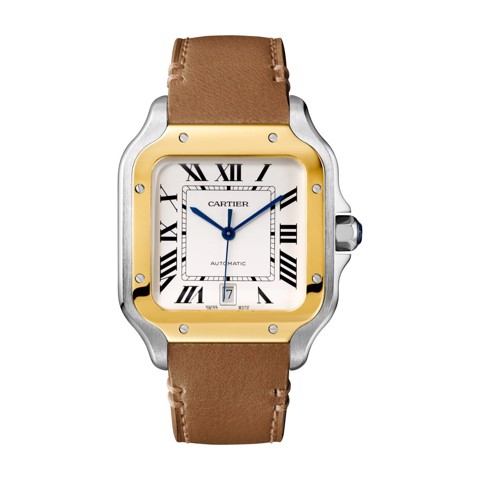 Cartier Santos De Cartier Large Yellow Gold Steel Bracelet & Leather