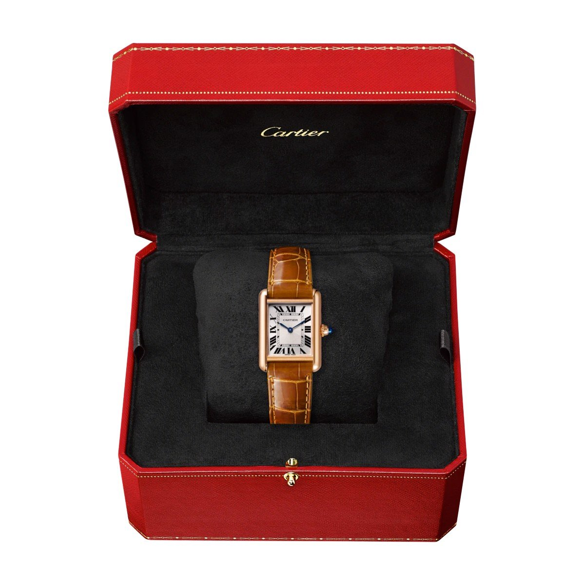 Cartier Tank Louis Cartier Small Model Pink Gold Leather