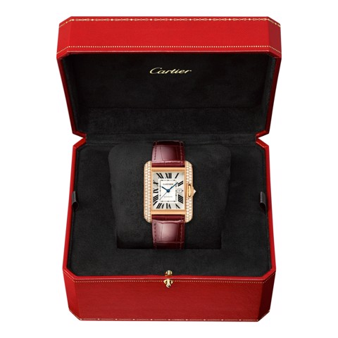 Cartier Tank Anglaise Large Model Pink Gold Leather Diamonds