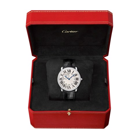 Cartier Ronde Louis Cartier 42mm White Gold Diamonds Leather