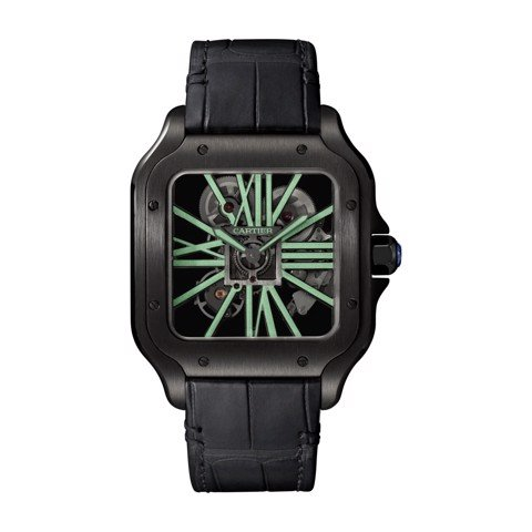 Cartier Santos De Cartier Skeleton Large ADLC Steel Leather