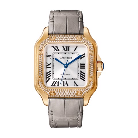 Cartier Santos De Cartier Medium Pink Gold Diamonds 2 Leather