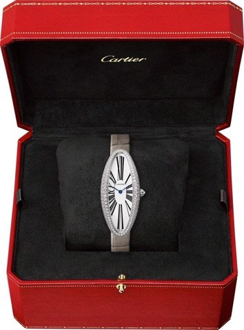 Cartier Baignoire Allongée Medium White Gold Diamonds Leather