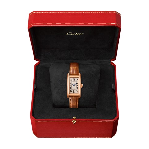 Cartier Tank Américaine Small Model Pink Gold Leather Sapphire