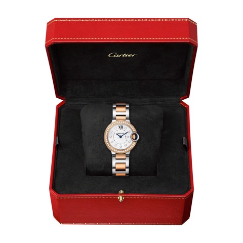 Cartier Ballon Bleu de Cartier 28mm Pink Gold Steel Diamonds