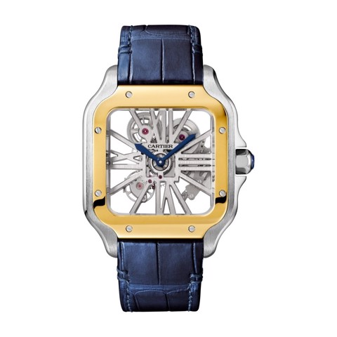 Cartier Santos De Cartier Skeleton Large Yellow Gold and Steel Bracelet & Leather