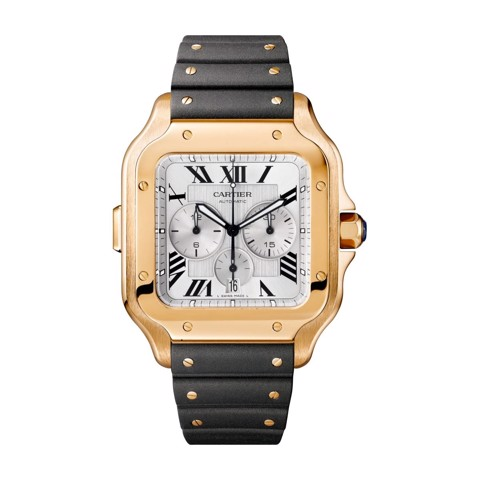 Cartier Santos De Cartier Chronograph XL Pink Gold Leather and Rubber